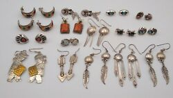 Wholesale Lot 16 Pair Of Native American Made Sterling Silver Earrings Turquoise