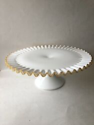 """Rare Fenton Gold Crest Milk Glass Pedestal Cake Stand Plate Approximately 13""""x5"""""""