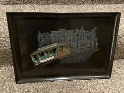 Vintage Couroc Monterey Trolley Cable Car San Francisco Brass And Wood Inlay Tray