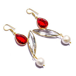 White Topazred Garnetriver Pearl Gold Plated 925 Sliver Jewelry Earring 2.93
