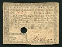 Ma-280 May 5 1780 3 Three Dollars Massachusetts Colonial Currency Noteandnbsp