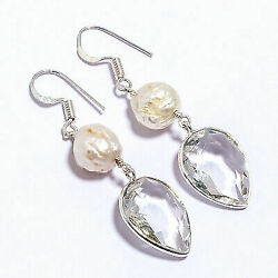White Topazriver Pearl Gemstone 925 Solid Sterling Sliver Jewelry Earring 2.07