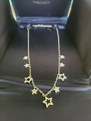 And Co. Platinum Diamond Star Collection Charm Necklace 16 Choker And Box
