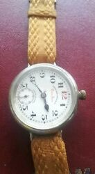 Antique West End Trench Watch Queen Anne 38 Mm , 42 With Crown.