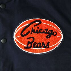 Mitchell And Ness Chicago Bears 100th Season Fanfest Hooded Authentic Navy Jacket