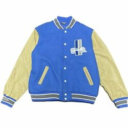 Mitchell And Ness Detroit Lions Authentic Wool Varsity Blue And Cream Leather Jacket