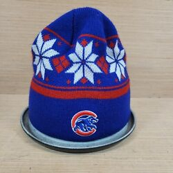 Chicago Cubs Mlb Knit Blue Red Winter Hat Cap Beanie Euc