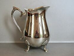 Vintage Silver Plate Footed Water Pitcher Made Hong Kong 8.5 Tall 5.25 Opening