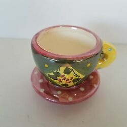 Mary Engelbreit Miniature Tea Cup And Saucer Pink Green Yellow Me Ink 2 In. Tall