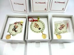 Lot Of 3 M.i. Hummel Christmas Ornaments With Boxes 2010, 2012, 2013
