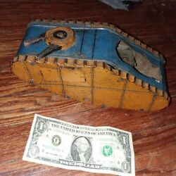 Rare Vintage Wwi Wind Up Tin Toy Tank By Marx Usa