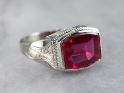 East To West Art Deco Synthetic Ruby White Gold Ring