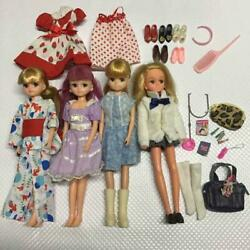 Used Takara Tomy Licca-chan 4 Bodies Clothes Shoes Bags Accessories Rare Limited