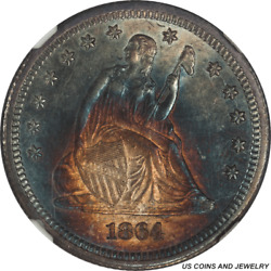 1864 Seated Liberty Quarter Ngc Ms 62 + Colorful Galaxy Of Color Toning
