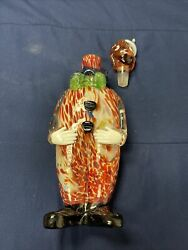 """Vintage Murano Art Glass Clown Decanter Rare 16"""" Tall Clean Color No Chips Swirl"""