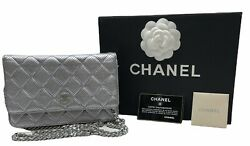 Quilted Perforated Silver Leather Cc Woc Chain Wallet Clutch Bag