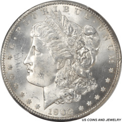 1902-s Morgan Silver Dollar Pcgs And Cac Ms64 Highly Detailed Polish Lines