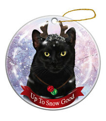 Holiday Pet Gifts Black Cat Porcelain Christmas Ornament