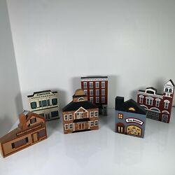 The Cats Meow Wooden Collectibles Lot 6 Yankee Candle Printing Hudson Toy Hall