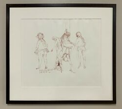 Vintage Framed Abstract Expressionist Surrealist Style Pen Ink Drawing Marx 67