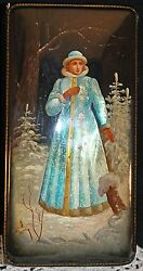 Russian Lacquer Box 1991 Fedoskino Signed Snow Maiden With Mop Fantastic Must C