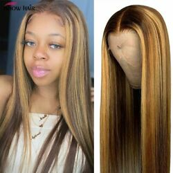 Transparent 250 Density Highlight Human Hair Straight Lace Front Preplucked Wig