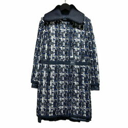Moncler Tweed Down Coat 16aw Juliette 49911 Black/navy/white Jacket Women And039s