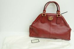 Authentic Red Leather Gg Logo Aged Gold Tiger Gp Handbag