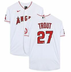 Mike Trout Los Angeles Angels Signed White Authentic Jersey 14 16 19 Al Mvp
