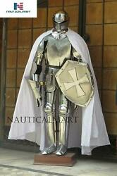 Full Suit Of Armor Knight Collectible Medieval Silver Costume Larp Halloween