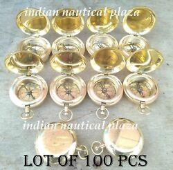 Brass Push Button Compass Key Ring Lot Of 100 Pcs Collectible Golden Finish Gift