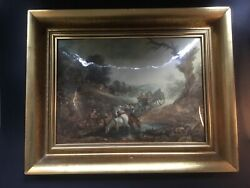 Vtg French Enamel Painting Over Convex Hammered Copper Masterpiece C.1940s