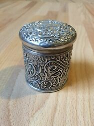 Antique 1898 Solid Silver Art Nouveau Dressing Table Vanity Jar Canister Box