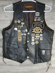 Vtg Harley Davidson 90's And 00's Leather Vest Patches Pins Mens Size 42 Large