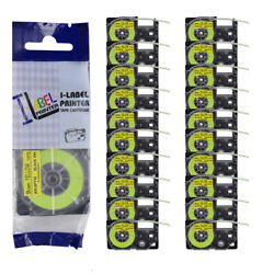 20pk Compatible With Casio Xr-9fyw Kl120 Black On Fluorescent Yellow Label Tape