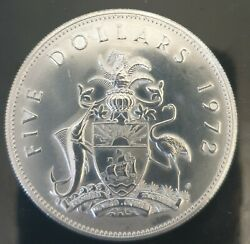 1972 Bahamas Huge Large Pirate Defeat Motto Proof Silver 5 Dollars Coin I85614