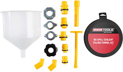 Oemtools 87009 No-spill Coolant Funnel Kit Near Universal Fitment 15 Piece Set