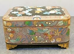 Japanese Meiji Silver Wire And Wireless Cloisonne Musical Box