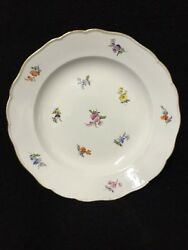 17 Meissen Antique Porcelain Dinner Plates Hand Painted Flowers Pattern China
