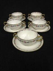 Set Of 5 Antique Theodore Haviland Limoges Bullion Soup Cups And Saucers For Vhc