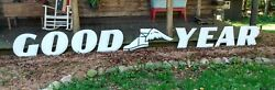 Vintage Porcelain White Goodyear Sign And Winged Shoe 18 Letters Gas Oil Pump