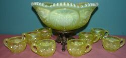 Fenton Satin Topaz Opalescent Vaseline Punch Bowl With 8 Cups And Stand