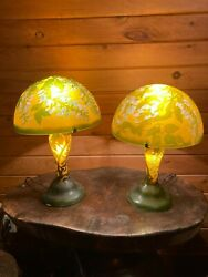 Two Art Glass Lamps Meyda In The Style Of Emile Galle