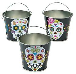 Metal Buckets Day Of The Dead Sugar Skulls 12-pc Halloween Party Pails Decor 3h