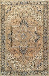 Muted Semi-antique Geometric Traditional Area Rug Low Pile Handmade Wool 8x11