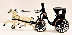 Vintage Painted Cast Iron Toy Horse Drawn Carriage With Driver 1920-1950