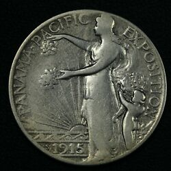 1915 S Panama Pacific Pan-pac Silver Commemorative Half Dollar - Cleaned
