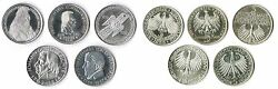 5 Mark Die First Five 1952,55, 57,64 Federal Republic Germany Complete Xf 1