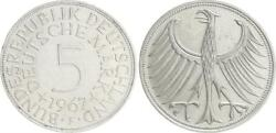 5 Dm J.387 Silver Currency Coin 1967 F Without Randschrift Rim Smooth Almost Xf