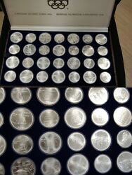 Canada Olympiaserie 1976 28 Coins Series Complete 925er Silver Weight 1020g